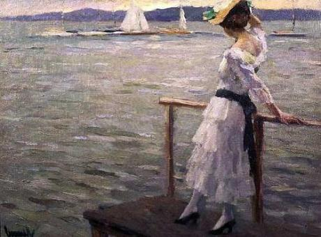 American-Impressionist-Painter-Edward-Cucuel-Girl-by-the-Sea-Oil-Painting
