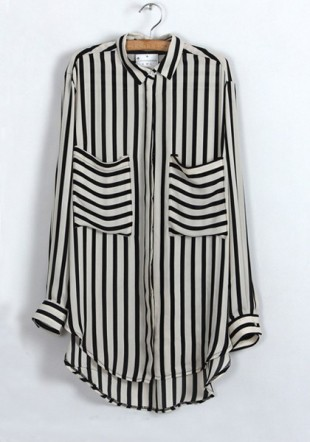 beige-striped-pockets-lapel-long-sleeve-chiffon-blouse