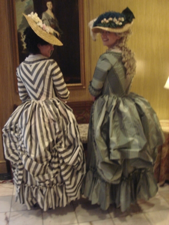 back striped gown at tea