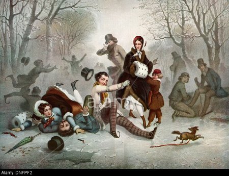 Outdoor ice skating in the 19th century.