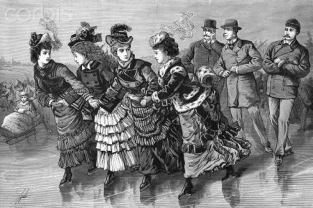 19th-Century Print of Skaters in Central Park