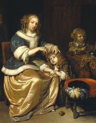 Mother Combing Child's Hair by Caspar Netscher (1669)